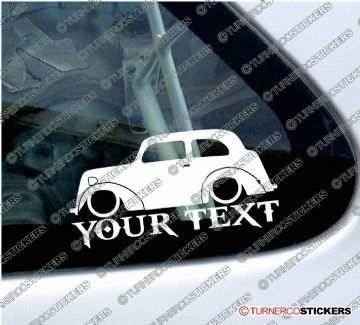 2x Lowered Ford Anglia E494A CUSTOM TEXT classic car silhouette stickers